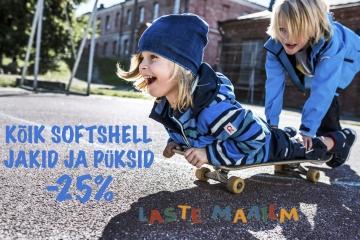 KÕIK SOFTSHELL JAKID JA PÜKSID LASTE MAAILMAS -25%