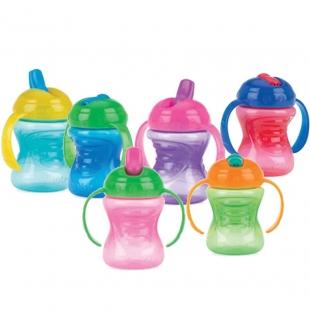Nuby joogitass kahe käepidemega ülestõmmatava vaba vooluga jooginokaga 240 ml ID10209, Värvilised