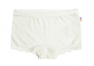 Joha tüdrukute pitsiga aluspüksid vill/siid 86491, 50 Loodusvalge