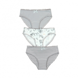 Boboli tüdrukute aluspüksid 3-pakk 927075, Hall/valge
