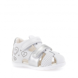 Geoxi´i väikelaste sandaalid KAYTAN, C0007 Valge/hõbe