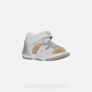 UUS KOLLEKTSIOON Geox`i tüdrukute sandaalid TAPUZ, C0007 Valge/hõbe