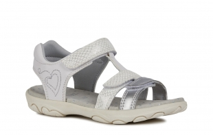 UUS KOLLEKTSIOON Geox`i tüdrukute sandaalid CUORE, C0007 Valge/hõbe