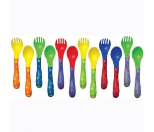 Nuby kahvel ja lusikas ID5256, Värvilised