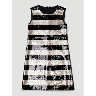GUESS Kids triibuline litritega kleit, Must