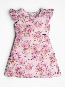 GUESS Kids kleit lillede ja volditud varrukatega, Roosa
