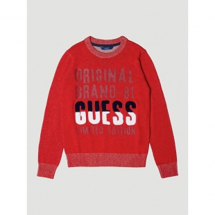 GUESS Kids poiste kootud džemper, Punane