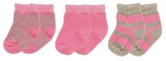 Playshoes beebisokid 3-pakk 495114, 18 roosa